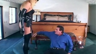 Female officer fucking in gloves and stockings