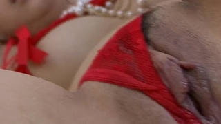 Ai Yuumi in red lingerie her furry muff toyed until she gushes