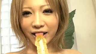 Ai Shirosakia with a micro bullet has her shaved pussy toyed