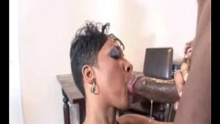 SEXY EBONY BABE WITH NICE ASS DRILLED HARD