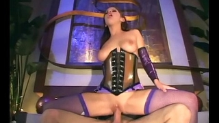 Joyless fucking in latex lingerie and a corset