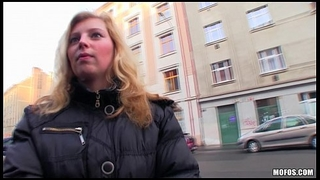 Shy blonde Czech girl agrees to take cash for a public suck &amp_ fuck